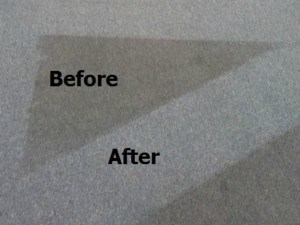 Closeup of carpet cleaning before and after