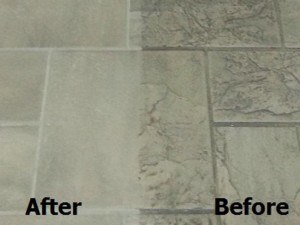 Closeup of tile and grout before and after cleaning