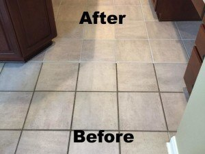 before and after tile and grout cleaning in kitchen