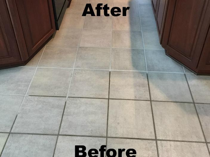 Before and After Tile and Grout Cleaning with Finished Grout Color Sealer applied
